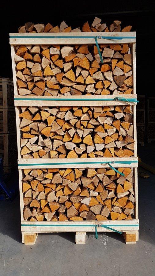 Kiln dried Mix (Oak+alder) firewood in 1,8 RM wooden crates
