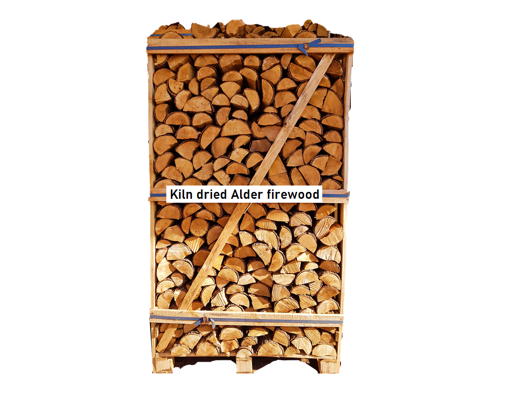Kiln dried alder firewood in 1,8 RM wooden crates