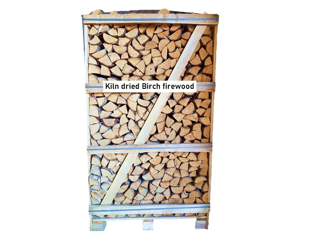 Kiln dried birch firewood in 1,8 RM wooden crates