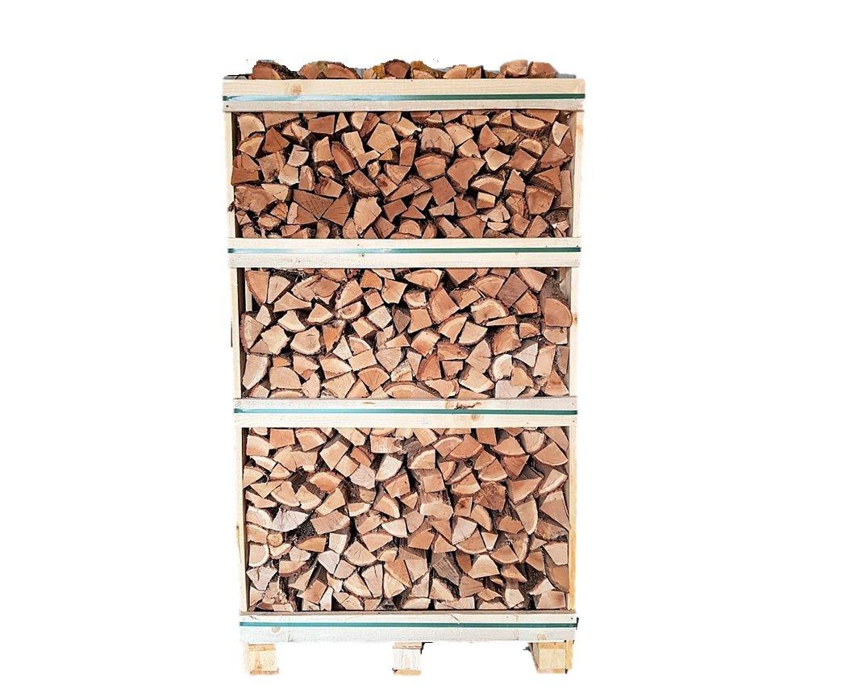 Kiln dried oak firewood in 1,8 RM wooden crates