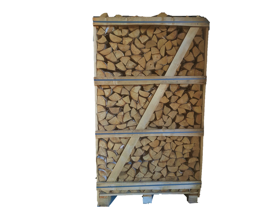 Natural moisture firewood in 1,8 RM wooden crates